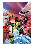 Uncanny X-Men No.533 Cover: Wolverine, Psylocke, and Angel Fighting and Flying Posters by Greg Land