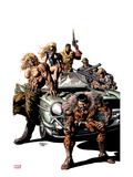 New Avengers 10 Cover: Kraven the Hunter, Sabretooth, Dominic Fortune, Dum Dum Dugan, and Others Print by Mike Deodato Jr.