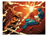 Ultimate New Ultimates 4: Thor and Captain America Fighting Prints by Frank Cho