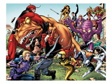 Avengers Academy 25: Hawkeye, X-23, Mettle, Giant Man, Reptil, Hazmat, Tigra, and Others Fighting Posters by Tom Grummett
