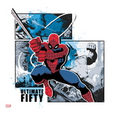 Spider-Man Badge: Battle Against Rhino Panels and Blue Splatters, Spider-Man Swinging Posters
