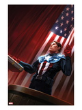 Captain America No.613 Cover: Captain America Standing in Front of the American Flag Posters by Marko Djurdjevic