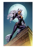 Ultimate Spider-Man No.152 Cover: Black Cat Standing on a Rooftop at Night Prints by J. Scott Cambell