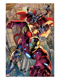 Avengers: Age of Ultron 0.1: Iron Man, Thor, and Protector Flying Print by Bryan Hitch