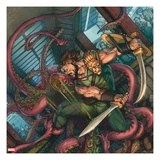 Herc No.4 Cover: Hercules Fighting and Slashing a Sea Monster Prints by Michael William Kaluta