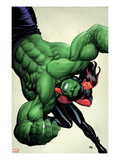 Incredible Hulks 629 Cover: Hulk and Red She-Hulk Fighting Prints by Frank Cho