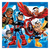 Marvel Super Hero Squad: Falcon, Wasp, Nick Fury, Thor, and Captain America Posing Prints