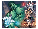 Incredible Hulks: Enigma Force No.3: Hulk, Hiro-Kala, Princess Marionette, Carl, and Bug Charging Print by Miguel Munera
