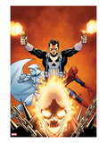 Shadowland No.3 Cover: Ghost Rider, Moon Knight, Spider-Man, and Punisher Posing Posters by John Cassaday