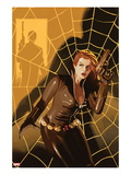 Black Widow 5 Cover: Black Widow Standing in Front of a Web with a Gun Print by Daniel Acuna