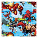 Marvel Super Hero Squad: Thor, Iron Man, Wasp, Falcon, and Spider-Man Flying Print