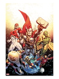 Secret Avengers No.26 Cover: Thor, Captain Britain, Vision, Ms. Marvel, and Beast Flying in Space Prints by Alan Davis