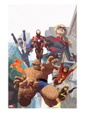 I Am An Avenger 4 Cover: Thing, Spider Woman, Ms. Marvel, Iron Man, Stature, Justice, and Firestar Prints by Daniel Acuna