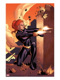 Marvel Adventures Super Heroes No.10 Cover: Black Widow Shooting Arte por Clayton Henry