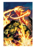 Incredible Hulk & The Human Torch: From the Marvel Vault No.1 Cover: Fighting and Flaming Poster by Mark Bagley