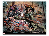 New Avengers No.23: Ms. Marvel, Spider-Man, Scarlet Witch, Hawkeye, Wolverine, and Skaar Fighting Prints by Mike Deodato