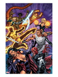 New Mutants Forever 3 Cover: Selene, Cannonball, Sunspot, and Magik Fighting Posters by Al Rio