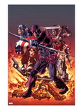 Hawkeye: Blind Spot 1 Cover: Hawkeye Shooting his Bow and Aroow in front of Flames Prints by Mike Perkins