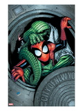 Marvel Adventures Spider-Man No.11 Cover: Spider-Man and Lizard Fighting Prints by Patrick Scherberger