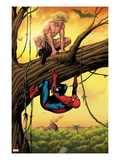 Marvel Adventures Spider-Man No.13 Cover: Ka-Zar and Spider-Man Crouching Out on a Limb Print by Barry Kitson