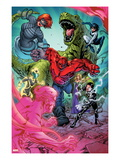 Avengers Academy 11: Mettle, Veil, Hazmat, Reptil, Striker, and Finesse Print by Tom Raney