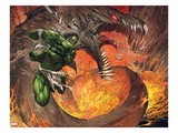 Incredible Hulk No.1: Hulk Fighting a Fiery Dragon Prints by Marc Silvestri