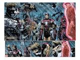 Avengers No.9: Panels with Steve Rogers, Thor, Wolverine, Iron Man, Mr. Fantastic and Others Art by John Romita Jr.