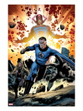 Fantastic Four 586: Mr. Fantastic and Galactus Running Poster by Steve Epting