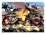 New Avengers No.20: Daredevil, Luke Cage, Iron Fist, Spider-Man, Dr. Strange and Others Fighting Poster von Mike Deodato