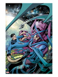 Fantastic Four 586 Cover: Mr. Fantastic and Galactus Fighting Poster by Alan Davis