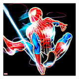Spider-Man Neon Badge: Spider-Man Swinging Posters