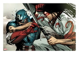 Avengers 22 Cover: Captain America and Gorgon Fighting Posters by Stuart Immonen