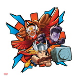 Marvel Super Hero Squad Badge: Falcon, Thor, and Wonder Man Flying Prints