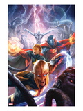 The Thanos Imperative 5 Cover: Nova, Quasar, Gladiator, and Silver Surfer Flying Prints by Aleksi Briclot