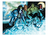 Incredible Hulks No.614: A-Bomb, She-Hulk, Hulk, Skaar, Red She-Hulk, and Korg Standing Prints by Barry Kitson