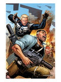 Secret Warriors 19 Cover: Steve Rogers and Nick Fury Fighting and Running Posters by Jim Cheung