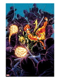 Shadowland: Power Man 3 Cover: Galactus and Silver Surfer Fighting Posters by Mike Perkins