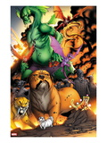 Avengers vs. Pet Avengers No.3: Lockjaw, Lockheed, and Fin Fang Foom Standing Print by Ig Guara