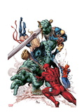 New Avengers No.23 Cover: Skaar, Daredevil, Spider-Man, Ms. Marvel, and Wolverine Fighting Poster by Mike Deodato