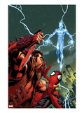 Ultimate Spider-Man 159 Cover: Kraven The Hunter and Electro for the Death of Spider-Man Prints by Mark Bagley