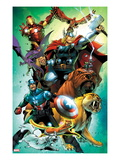Avengers vs. Pet Avengers 4 Cover: Captain America, Thor, Iron Man, Lockjaw, Zabu and Others Posters by Ig Guara