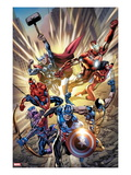Avengers No.12.1 Cover: Captain America, Hawkeye, Wolverine, Spider-Man, Iron Man, and Others Posters par Bryan Hitch