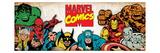 Marvel Comics Retro: Hulk, Thor, Spider-Man, Wolverine, Captain America, Iron Man, and Thing Kunstdruck