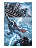 New Mutants 25: Thor Flying in a Lightning Storm Art by Leandro Fernandez