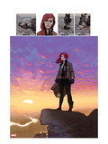 Black Widow No.5: Black Widow Standing on a Cliff in front of a Sunset Prints by Daniel Acuna