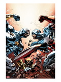 New Avengers No.24 Cover: Cyclops, Captain America, and Wolverine Fighting Plakater af Mike Deodato