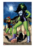 She-Hulks No.1: She-Hulk and Lyra Posing Prints by Ryan Stegman
