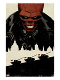 Red Skull No.5 Cover: Portrait of Red Skull with Tanks and City Silhouette Prints by David Aja
