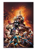 New Avengers 21 Cover: Thor Fighting Wolverine, Ms. Marvel, Daredevil, Thing, and Spider-Man Posters by Mike Deodato Jr.