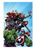 Avengers Assemble 1 Cover: Captain America, Hulk, Black Widow, Hawkeye, Thor, and Iron Man Posters by Mark Bagley